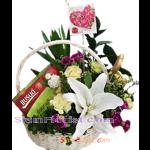 BA2371  กระเช้ารังนก และดอกไม้สด  ตามแบบ 2350 บ.