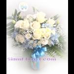 01912HG   แจกันดอกไม้รวมแซมไฮเดรนเยีย