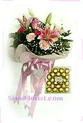 2281  Bouquet of Flowers and Chocolate start US$78