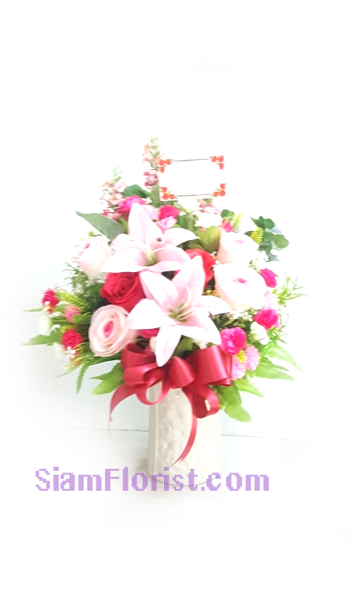 AR2542   Vase of Artificial Flowers