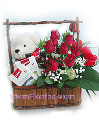 2111   Basket of Roses  Teddy Bear and Chocolate