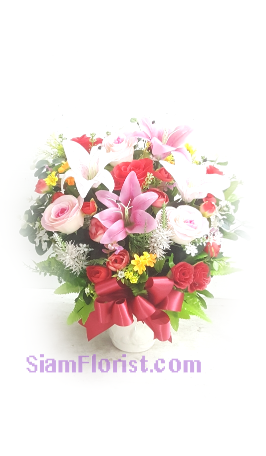 AR2546  Vase of Artificial Flowers