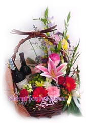 2184  Basket of Mixed Flowers  with wine arrangment start US$78