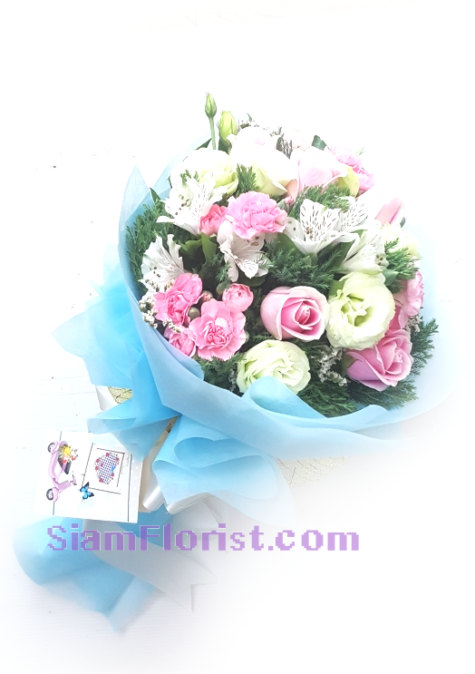 RR1165. Bouquet of white mixed flowers..click for detail