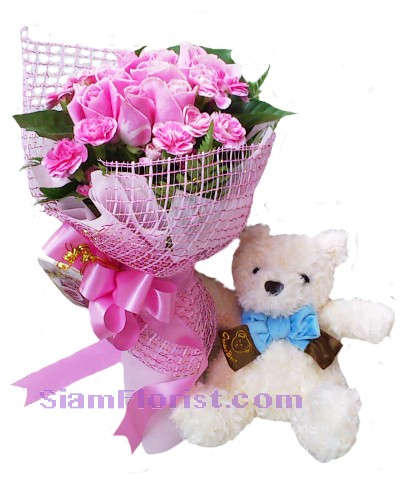 2245 bouquet  of  Roses with Teddy Bear  Click for detail