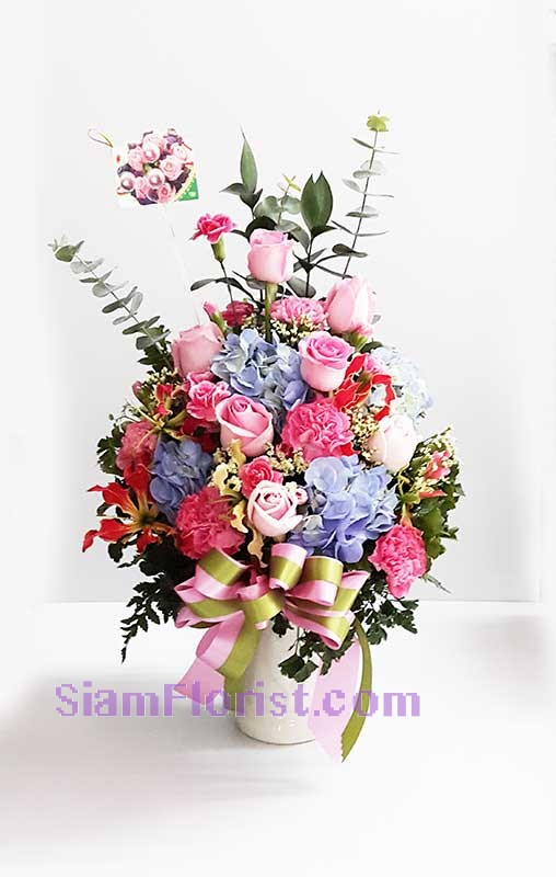 2492 Vase of  Mixed Flowers more detail click