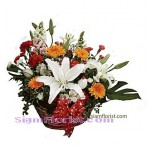 2327  Basket of Mixed Fresh Flowers