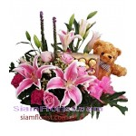 2337  Basket of Flowers  Teddy Bear and Chocolate