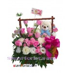 2354  Basket of  Roses with Teddy Bear
