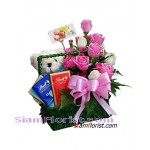 2356   Basket of Roses Teddy Bear and  Chocolate