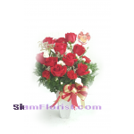 1098 Vase of  Roses and carnations