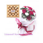01953FE  Bouquet of Mixed flowers and Ferrero  Click for detail
