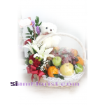 01958n  Basket of Fruits Mixed Flowers Teddy Bear