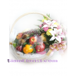 01959n  Basket of Fruits Mixed Flowers