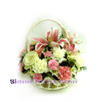 2163  Basket  of Mixed Fresh Flowers