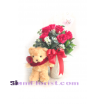 na2078 Vase of Roses  and Teddy Bear