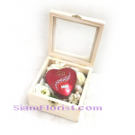 017810BX Heart Chocolate white flowers in Box