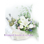 2117  Basket of Mixed Flowers  with wine arrangment
