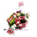 2187BA  Basket  of Garland flowers and Bird Net