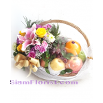 01956n  Basket of Fruits Mixed Flowers