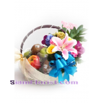 01960n  Basket of Fruits Mixed Flowers