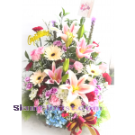 01911HG Basket of Mixed flowers  Hydrangeas  Click for detail