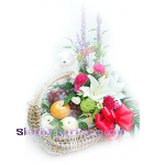 01961n  Basket of Fruits Mixed Flowers Teddy Bear