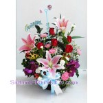 2482 Basket of  Mixed Flowers  click for detail