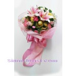 2483  Bouquet of Bouquet Flowers and Ferrero more detail click