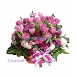 2420  Basket  of Tulips and carnations  more detail click
