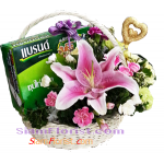 BA2372  Basket of Essence Chicken and Mixed Flowers