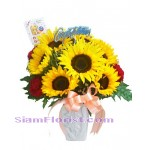 2203   Vase of SunFlowers start US$60