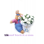 2537. bouquet  of mixed flowers with stuff toy Rabbit  Click for detail