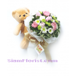 2522 bouquet  of mixed flowers with stuff toy Teddy Bear  Click for detail