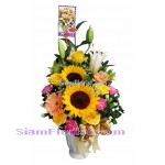 SUN2397  Vase of SunFlowers and Lilies  Click for detail