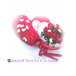23088V Bouquet of Roses and Heart Pillow Click for detail