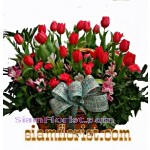 2296  ฺBasket  of Tulips and carnations  more detail click