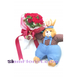 2511 bouquet  of  Roses with stuff toy Rabbit  Click for detail