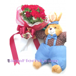 2511V Bouquet of Mixed flowers and stuff toy Click for detail