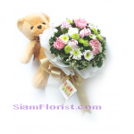 2522V Bouquet of Mixed​ flowers​ and Teddy Bear  Click for detail
