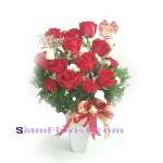 1098V Vase of Roses carnations​  Click for detail