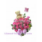 2476  Vase of Roses  and small Teddy Bear   click for detail