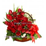 2467  Basket of Roses Carnations  and small Teddy Bear   click for detail