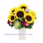 2258  Vase of SunFlowers start US$60
