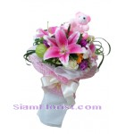 2268  Bouquet of Flowers and teddy bear  start US$74