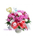 2294   Vase of  Roses with Teddy Bear start US$107.60